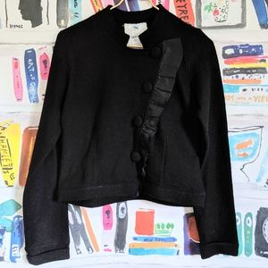 Sparrow Black Satin Ruffle Wool Blazer Jacket M